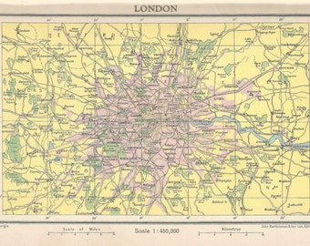 London City Map 1940s old maps home decor Vintage Prints old maps rail map