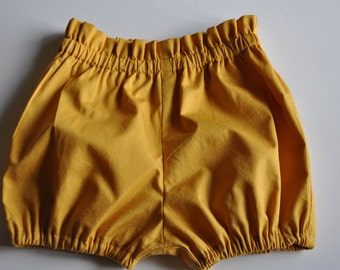 High waisted bloomers, Paperbag Waist Bloomers, Baby Bloomers, Mustard baby bloomers