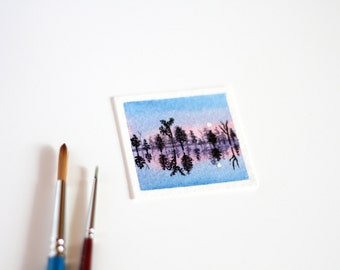 Lake Painting, Miniature Art, Waterscape Painting, Lake Trees, Tiny Painting, Landscape, Watercolour Painting, Reflections, Sunrise, Dawn