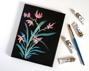 Flower Painting, Acrylic on Canvas Japanese Style Flower Painting, Flower on Black Background, Japanese Flower Painting, Simple Flower