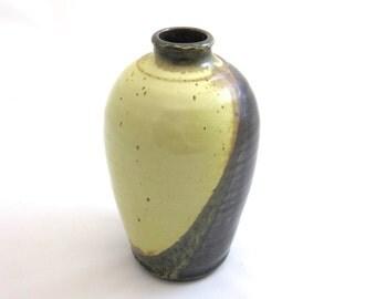 Pottery vase, handmade wheel-thrown stoneware, glazed in temmoku and yellow salt