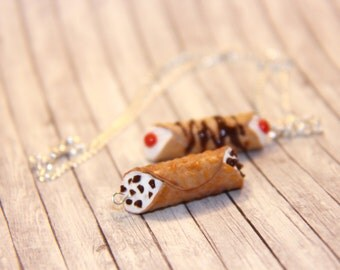 Realistic Sicilian Cannoli Charm Necklace from Polymer Clay