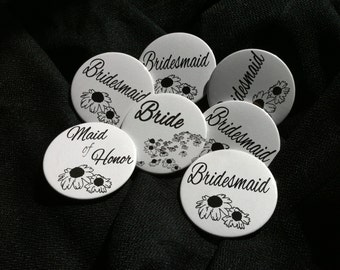 Bride & Bridesmaids Set of Pinback Buttons