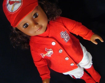 St. Louis Cardnials Base Ball Uniforms - American Girl (Boy) Style & Size Doll Clothes, Outfit