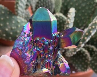 Beautiful 53.8g Titanium Rainbow Flame Aura Spirit Quartz Healing Cluster Metaphysical Properties