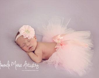 Baby tutu, newborn tutu and Flower headband, newborn photogpraphy prop, PINK TUTU, ,  Photo Prop Tutu, Pink Tutu, Spring Tutu, Tulle Tutu