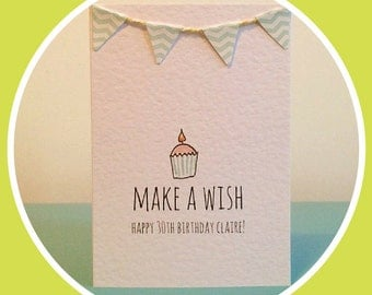 Make a wish (personalised) birthday card