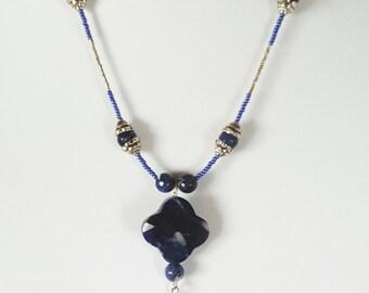 Boho Beaded Sodalite Tassel Necklace