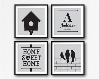 Family Name Art, Home Sweet Home, Bird Printable, Custom, Family Name Sign, Large Art, Family Name Print, Last Name, Wall Decor, Bird Art