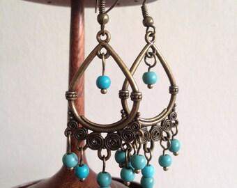 Ethnic earrings, Bohemian earrings, Boho earrings, Turquoise Jewellery, Tribal earrings, Bronze long dangle earrings,  Turquoise earrings