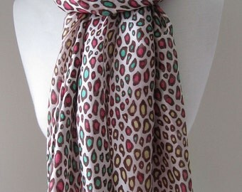 Silk Scarf with Animal Prints - Summer Silk Infinity scarf, light weight scarf, gift for her