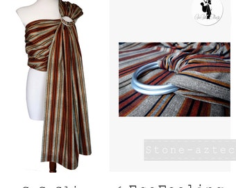 Baby ring sling, Baby carrier, Baby wrap, Sling, Ring sling, GuGaSling Stone-Aztec, Cotton, Old shcool, Gift bag