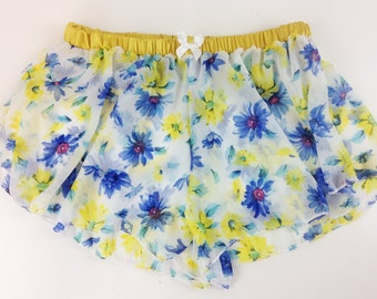 Shorty /motif flower/yellow/short of night /celin creations.
