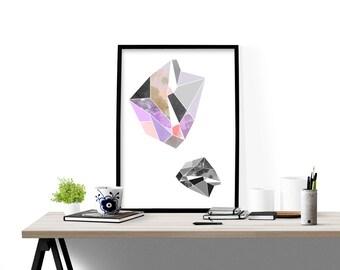 Geometric modern wall art, art print, poster,  gem illustration,  abstract design poster, modern decor, home wall decor, apartment wall art,