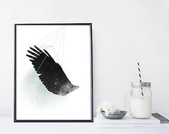 Wing print, galaxy illustration, modern wall art, animal design, bird print, home wall decor, apartment decor