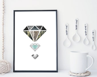 Diamond art print, crystal wall art, geometric modern art print, nature art print, home wall decor, apartment wall art, gift, minimal,