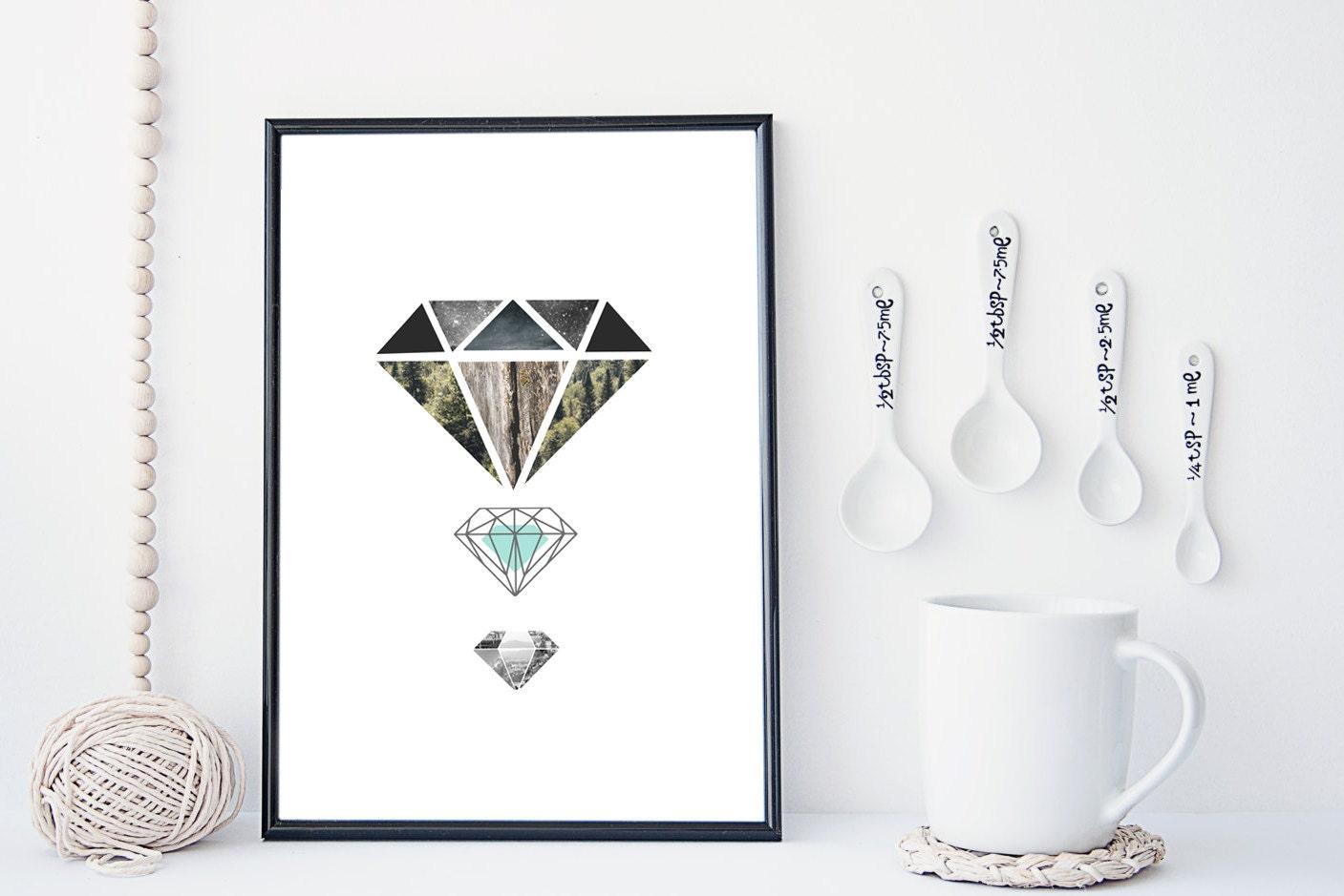 Wall Decor With Crystal : Diamond art print crystal wall geometric modern