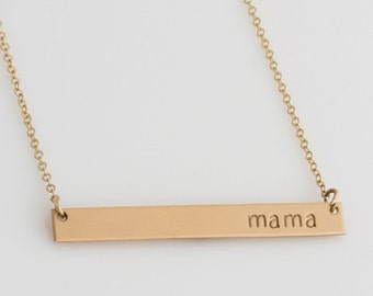 Mother's Day Gift For Her/ Custom Hand Stamped Necklace /Personalized Handstamped Mother's Day Gift/ Mama Bar Necklace/ Gift for Wife