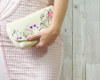 Embroidered clutch bag, Evening clutch bridesmaid gift, Wedding clutch bag, Beige clutch purse, Fairy purse, Bridesmaid bag embroidered