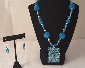 Blue Glass Pendant - Blue Ocean Pendant - Blue Necklace - Blue Earrings - Blue & Silver Jewelry Set - Blue Jewelry Set-Glass Pendant Jewelry