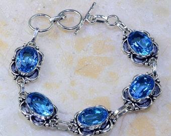 "Brilliant Blue Topaz Bracelet Size 7 - 7 3/4"""