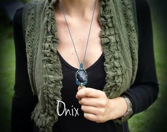 Onyx macrame necklace, Macrame gemstone pendant, Bohemian micromacrame necklace, Onyx healing jewelry, Turquoise necklace