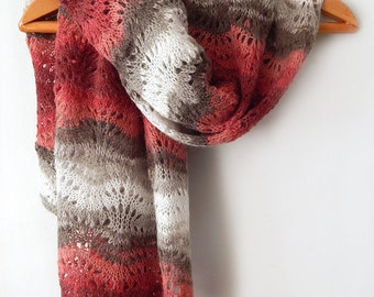 Knitted red-grey mohair wrap, mohair lace wide scarf, woman knitted scarf, angora scarf, knitted woman scarf