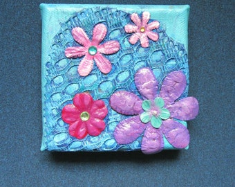 Mini painting, four flowers original art on canvas, mixed media art collage, blue pink purple, floral abstract decorative wall picture