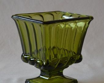 Vintage Green Glass Rectangle Pedestal Vase