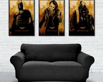 Vintage Batman Trilogy Movie Poster, Batman Begins, The Dark Knight, The Dark Knight Rises, Minimalist Poster