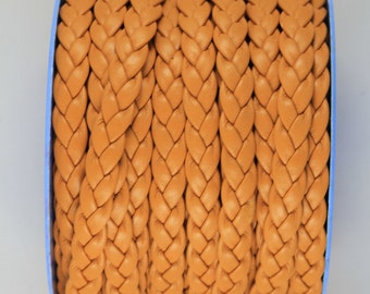 "MADE IN SPAIN 24""  flat braided leather cord, jewelry cord, whisky color braided cord (TRP10WHI)"