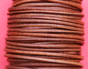 MADE IN SPAIN 6 feet 3mm leather cord, 3mm tobacco leather cord, 3mm round leather cord,(3ANITAB)