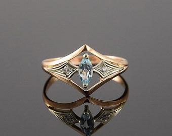 art deco ring topaz ring gemstone ring geometric ring promise ring - Antique Wedding Ring