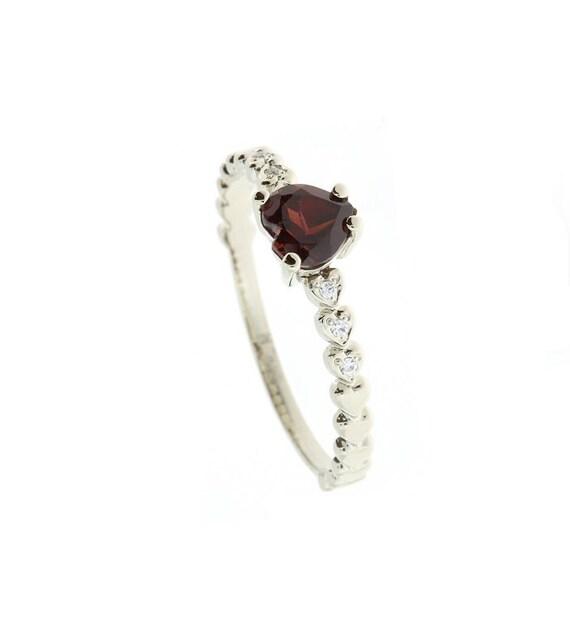 garnet ring heart ring promise ring gift for girlfriend