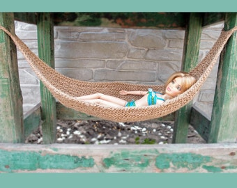 Fashion doll jute hammock, 1:6 scale hammock, Diorama knitted hammock, Eco friendly, Barbie furniture, Dollhouse miniatures, 6th scale