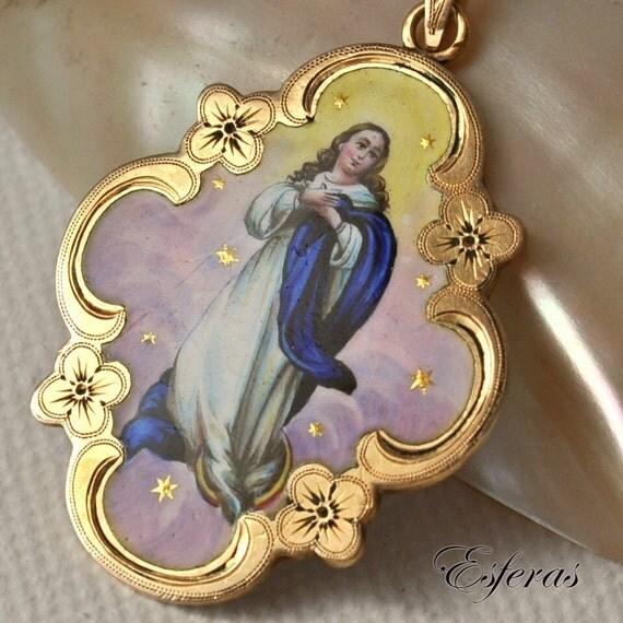 Antique Virgin Mary Hand Painted Enamel Pendant