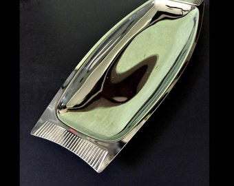 Mid Century Modern Kromex Accent Tray. Stainless Steel Chrome Finish with Serrated Handles.