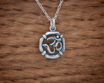 Ohm Om Charm or Earrings- STERLING SILVER- Chain Optional