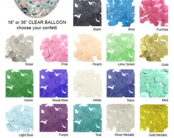 "5pk 36"" CUSTOM Confetti Balloon - YOU PICK 2 Confetti Color - Custom Confetti Balloon - 36 inch Clear Balloon - 36"" Clear Balloon (set of 5)"