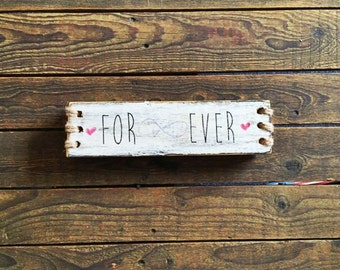 Black and White Rustic Reclaimed Timber 'Forever' Wedding Table Decor
