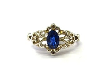 Sterling Silver Filigree Floral Mounting Natural Saturated Blue Sapphire Gemstone Solitaire Ring, September birthstone, size 6