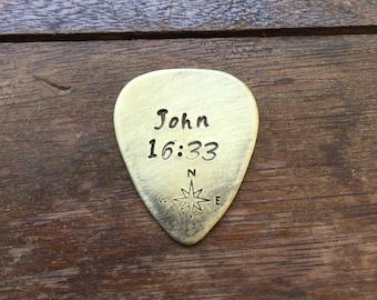 John 16:33 Compass | Hand Stamped Guitar Picks Gift - Aluminum Copper Brass - Gift under 20 dollars