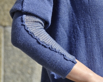 Knit wool silk sweater_Loose fit sweater_Woman sweater_Sweater with long sleeves _Handmade sweater_One color sweater