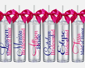 Bridesmaid Gifts -5 Personalized Bridesmaid Skinny Tumblers