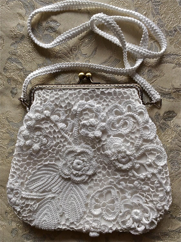 Crochet Clutch Purse Bag. Irish Crochet. Wedding By LuckyMila