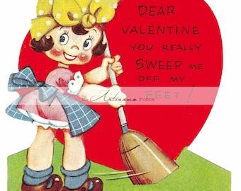 Printable Art Instant Download - Retro Vintage Valentine Sweeping Girl - Paper Crafts Scrapbooking Altered Art - Kitsch Colourful Valentine