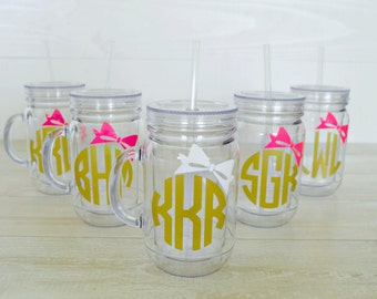 SALE: Bridesmaids Monogram Mason Jar Tumblers