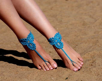 Crochet Turquoise Barefoot Sandals, Beach shoes, Foot jewelry, Bridesmaids gift, Barefoot sandle, Beach accessory, Wedding accessory