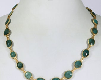 Handmade Natural Necklace .925SterlingSilver with 18kt GoldMicronPlating with Emerald slices 18inch long with clasp & Faceted Emerald Bead
