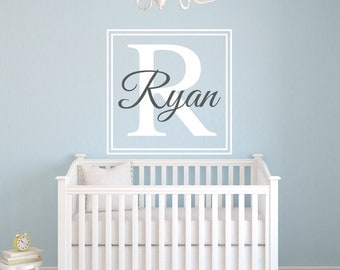 Personalized Name Wall Decal - Custom Name Wall Decal - Nursery Wall Decal - Baby Room Decor - Monogram Square Kids Name Vinyl Wall Decal